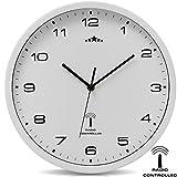 Wanduhr Funkuhr Quarz Funkwanduhr Analog Uhr 31cm Zeitumstellung Automatisch - weiß