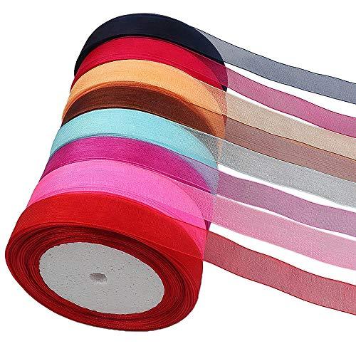 320m Hochwertiges Organzaband mit eingewebtem Saum, 40m/Stück,8 Farben Geschenkband Geschenkbänder Satinbänder Ringelband Schleifenband Stoffband Dekoband