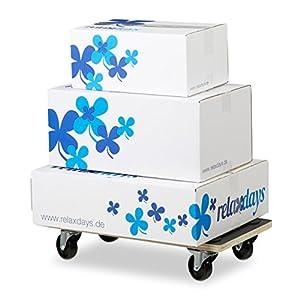 Relaxdays - Carrello per mobile con freno di stazionamento, 400kg, ruote pivottanti, rivestimento antiscivolo, 11,5x 58x 30cm (H x L x l), Nero
