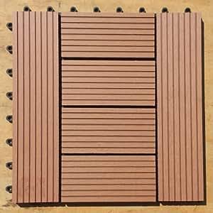 WPC Legno Piastrelle 30x 30cm terrazza piastrelle terrazza corridoio legno-Sistema a incastro per piastrelle WPC (Wood Plastic Composites) il cosiddetto plastica legno è la rivoluzione nel Outdoor materiali per balcone, terrazza e giardino