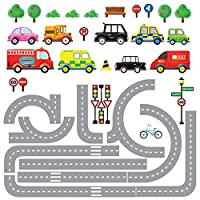 DECOWALL Transports and Roads Kids Wall Stickers Wall Decals (1204 / 1204P1205A)