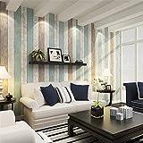 YUELA Blue Mediterrane Tapete Wohnzimmer Schlafzimmer Woodgrain Tapete Retro Vertikale Streifen TV Hintergrund Umweltfreundliche Nonwoven Tapete, A