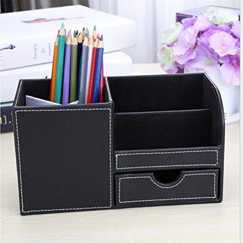 ZHANG Aufbewahrungsbox Multifunktionale Leder Schreibtisch Aufbewahrungsbox Serie, Visitenkarten, Stifte, Handys, Fernbedienung Ständer Veranstalter Büromaterial Zubehör.
