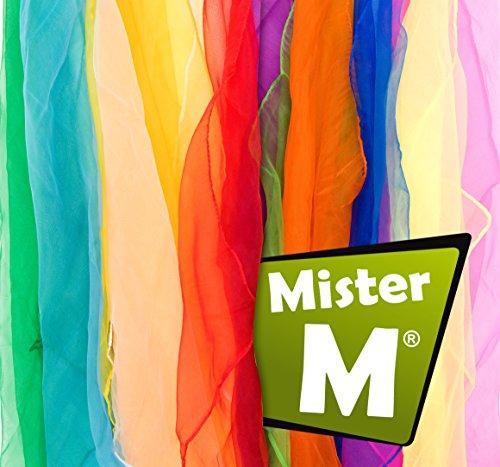 Mister M ✓12 Tücher, CE Geprüft - in der EU Zusammengestellt - Rhythmik / Jonglier / Tanz Tücher mit Gratis Online Jonglier Lern Video