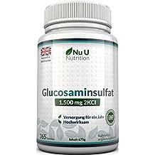 Glucosamin Sulfat 1.500mg 2KCI, 365 Tabletten Glucosamin (Versorgung für ein Jahr) I Kein Gel, Kapseln, Flüssig oder Pulver   Hochwertig I Hergestellt in Großbritannien von Nu U Nutrition
