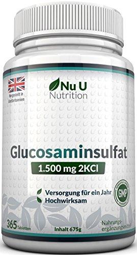 Glucosamin Sulfat 1.500mg 2KCI, 365 Tabletten...