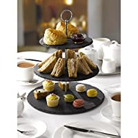 ARIANA HOMEWARE 3 Tier Cake Stand Natural Slate, Glass, Ceramic White (Natural Slate)