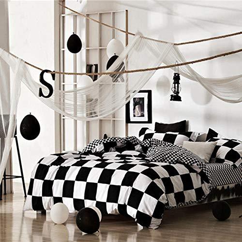 chengwu Einfache Baumwolle Schwarz Und Weiß Vierteilige Anzug Baumwolle Plaid Leinen Bettbezug Frühling Und Sommer Student Schlafsaal 1.2mbed 1.5mbed,1.5m(5feet) Bed -