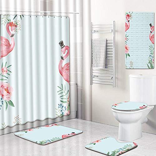 WOSBE 5-Teiliges Duschvorhang-Set FlamingoduschvorhangBadezimmermatten-Set, mit 12 Haken und Rutschfestem WC-Vorleger & Deckel Badematte, Badezimmer-Dekoration 45 * 75cm @E -