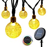 Solar String Lights Garden, Lunalife Outdoor Waterproof Globe Fairy Lights Upgraded 21ft 30 LED 8 Modes Crystal Ball, Premium Ambiance Decorative Lighting for Patio, Christmas Party, Fence, Wedding, Lawn, Landscape, Home, Holiday, Xmas Tree, Yard (Warm White)