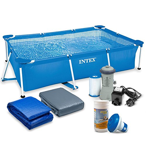 7in1 Set Rectangular Frame Pool 300 x 200 x 75 cm mit Zubehör INTEX 28272