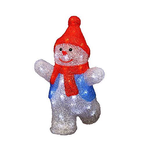 Deko-Geschenke-Shop LED Acryl Schneemann 35 cm beleuchtet Snowmen rote Mütze farbig Außen