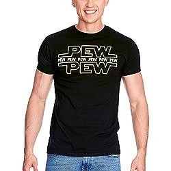 Elbenwald Pew Pew Herren T-Shirt für Star Wars Fans Baumwolle schwarz - S