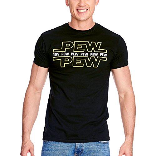 Star wars pew pew mens t-shirt nera per i fan elbenwald cotone - l