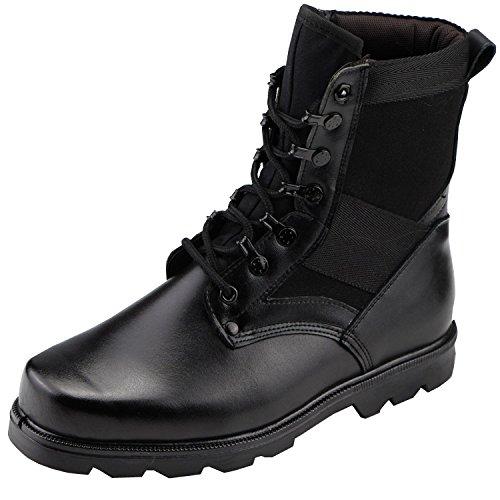 Aiyuda Herren Military Combat Arbeit Stiefel Stahl Zehen Wasserdicht Leder Jungle Pflicht Winter Boot schwarz, Herren, schwarz (Stahl Zehen Stiefel Wasserdicht)