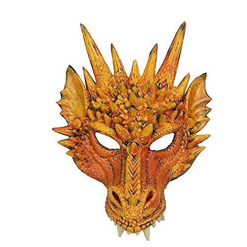 CHNA MA Halloween Karneval Party PU Schaum 3D Evil Dragon Mask für Erwachsene und Kinder Mardi Gras Party,Yellow,H30*W21cm
