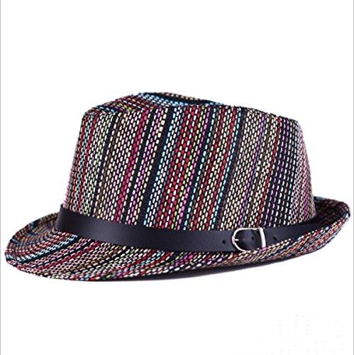 Version Homme Mme Summer Coréen Nouveau Couleur Chapeau Haut Rayé Chapeau De Jazz Marée brown