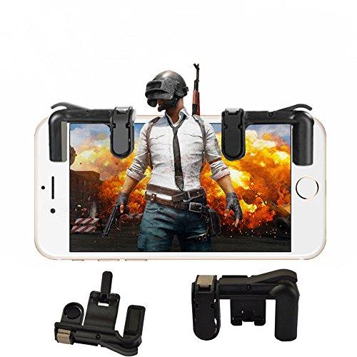 ZARLLE Mobile Game Joystick Player Unknown's Battlegrounds Eat Chicken Artifact, Phone Mobile Gaming Trigger Fire Button para L1R1 Shooter Controller Pubg (2 Generaciones (Talla única, Negro)