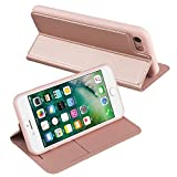 Nouske iPhone 7 4.7 Zoll Stand Hülle Etui with Karte Halterung Leder Wallet Klapphülle Flip Book Case TPU Cover Bumper Tasche Ultra Slim, Rose Gold -