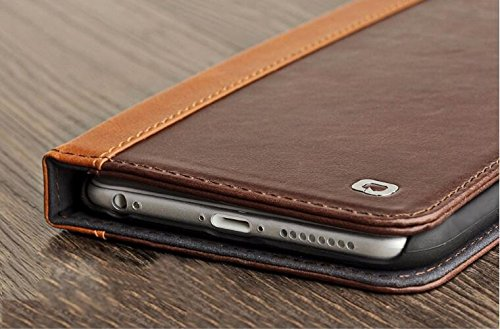 E Standhüllen fürs iPhone mit Kartenschlitzen, Leder, Light Brown w/ Dark Brown Border, 6 Plus / 6s Plus Dark Brown w/ Light Brown Border