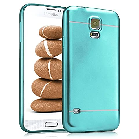 Samsung Galaxy S5 Hülle Silikon Türkis [OneFlow Smooth Back-Cover] Chrom