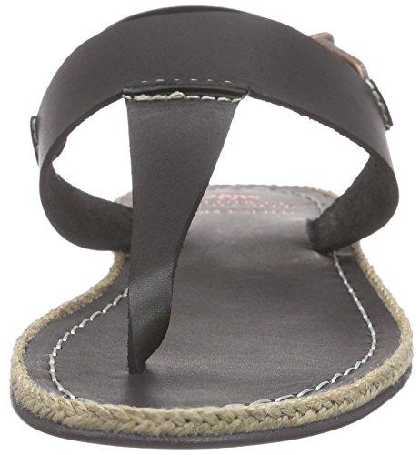 Fred de la Bretoniere Fred Tstrap sandalet Flat Lloret Flat, Scarpe Col Tacco con Cinturino a T Donna Nero (Nero (nero))