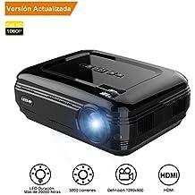 Proyector,【Versión Actualizada】Proyectores Full HD LED 3200 Lúmenes 1080P, Proyector Video Portátil Ayuda Portable / USB / VGA /HDMI / AV / TVpara Xbox / IOS / Android / Ordenador Personal