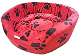 #10: Dog Bed Smart and Cozy in Red Color with Black Paws Design (Medium)