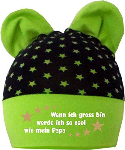 KLEINER FRATZ Baby Ohren Mütze Sternchen (Farbe navy-lime) (Gr. 1 (0-74) Wenn ich gross bin werde ich genauso cool wie Papa