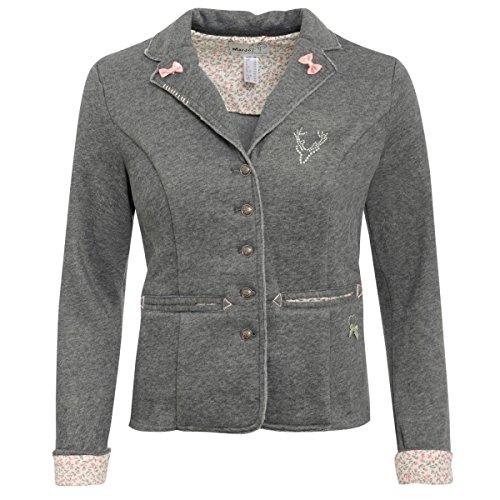MarJo Trachten Damen Trachten-Mode Trachtenblazer Soft in Grau Traditionell, Größe:34, Farbe:Grau