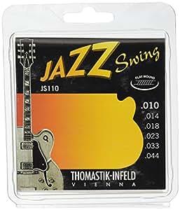 Thomastik Cordes Guitare électriques Jazz Swing Series Nickel Flat Wound Jeu JS110 Extra Light .010-.044w