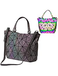 bolsos de cuero de la PU de Luminous Luminous geométricos Shtic Lattice Bolso holográfico de arco iris de cuero ecológico para mujeres Bolso grande