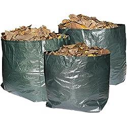 Gartenabfallsäcke Premium-Satz von 3 wiederverwendbaren Säcken mit Griffen, 272 Liter Fassungsvermögen pro Beutel, strapazierfähige und wasserdichte Abfallsäcke. Ideal für Gras, Blätter und Bäume