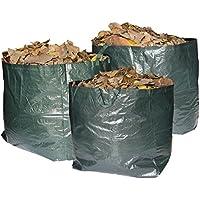 Bolsas de basura Max Strength de primera calidad para jardín. Juego de 3 bolsas reutilizables con asas. 272 litros de capacidad por bolsa, resistentes e impermeables. Para recoger hierba, hojas, árboles, plantas, flores, setos y arbustos