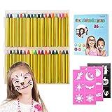 Pinturas Cara para Niños,Crayones de Pintura de Cara,Jumbo de 36 Jumbo 3'Crayones de Maquillaje para Pintura de Cara y Cuerpo, 12 Colores Metálicos y 24 Colores Clásicos para Halloween