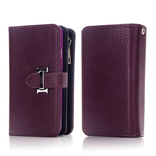 JIALUN-Telefon Fall Schutzhülle mit Kartenfächern & Zipper Tasche & abnehmbare Rückseitenabdeckung für iPhone 7 Plus ( Color : Gold ) Purple
