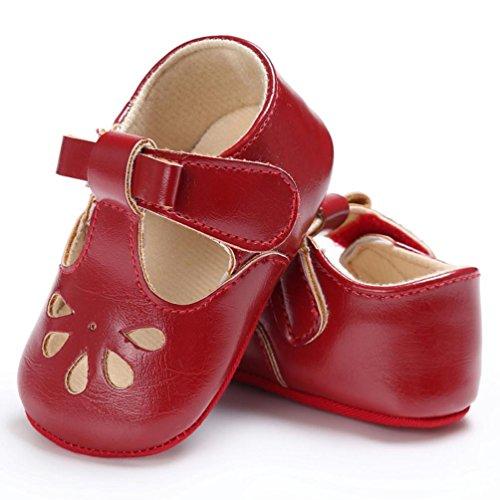 BZLine® PU Cuir Sandales à toux de goutte d'eau, Semelle en tissu pour Bébés 0-18Mois Rouge