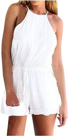 Luoluoluo Jumpsuit Donna Corto Tuta Elegante Siamesi Elegante,Tuta da Donna in Tinta Unita con Cinturino Senza Spalline e Cinturino Estivo Casual da Donna(Bianco,Nnero S-XL)