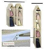 Aufbewahrungssystem, abnehmbar, 6Fächer zur besseren Organisation, geeignet für Taschen, klar, zum Aufhängen im Kleiderschrank, Platz sparend, für Wohnzimmer, Schlafzimmer, zu Hause beige