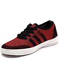 Ind Crown Fashion Men's Red Black Sneaker - B07CSZYKJG