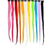 11 Stück Haarverlängerung Festliche Highlight Bunte Gerade Lockige Haarteil mit Clip Neon Farben Haarverlängerung Kit, 11 Farben