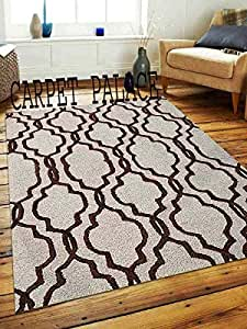 Carpet palace Handwoven Pure Wollen Modern Carpets Loop/Cut Pile Collection for Bedroom-Drawing Room-Floor-Dining Hall (5x8 Feet) Color Ivory & Brown