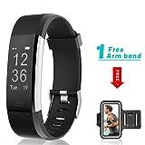Fitness Tracker HR, showyoo actividad Tracker reloj con Monitor de frecuencia cardiaca dormir Monitor contador de calorías podómetro para Android iPhone, Black + Free Armband