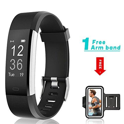 Pulsera Actividad, Showyoo Pulsera Inteligentes con GPS Pulsómetro, Reloj Inteligente Hombre Mujere Monitor de Ritmo Cardíaco Monitor de Sueño y Calorías Podómetro Impermeable IP67 para iPhone y Android, Negro + Brazalete Deportivo Gratis