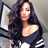 Jolitime Hair jolitime brasilianisches Echthaar Body Wave Perücken Schwarz Langes Haar synthetische Lace Front Perücke für Damen schwarz wellig Haar 61cm