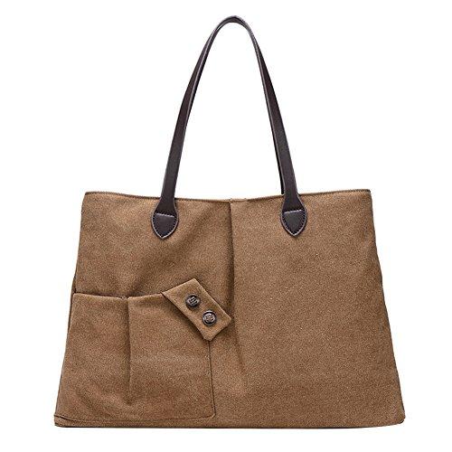 6b08e5ec92173 PB-SOAR Damen Vintage Canvas Shopper Schultertasche Handtasche  Freizeittasche Beuteltasche (Braun) Braun