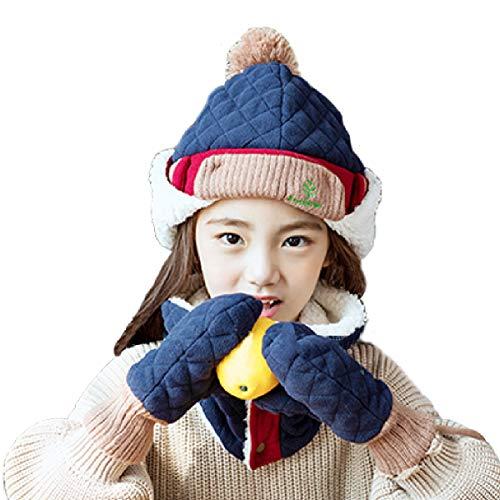 TRIWONDER Little Boys Girls Toddlers Winter Warm Lined Fleece Flap Hat Scarf Mittens Set (Navy Blue, L (6-12 years old)) - Fleece-flap Hat