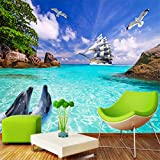 Hwhz Personalized Customization Seaside Landscape Dolphins Photo Wallpaper 3D Wall Mural Living Room Bedroom Tv Backdrop Wall Papers-400X280Cm