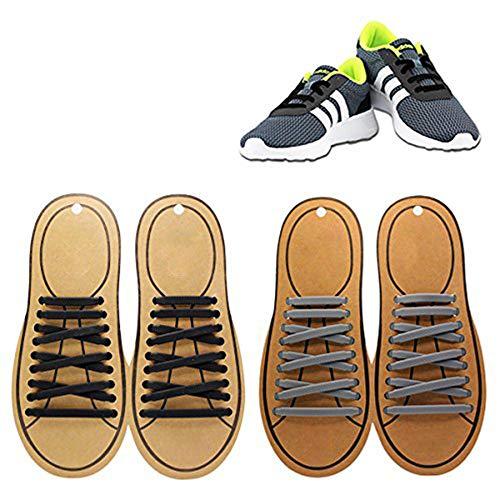Coolnice lacci elastici no tie lacci per scarpe adulti bambini pizzo elastico impermeabile pratica in silicio per scarpe sportive sneaker board-nero+grigio