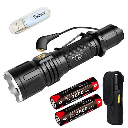 Preisvergleich Produktbild Klarus XT12S Taktische Taschenlampen 1600 Lumen Ultra helle leistungsstarke Taschenlampe CREE XHP35 HI D4 LED USB Magnetische Aufladen für Outdoor Sport, Suche und Rettung etc, mit 2 * 3600mAh 18650 Akku/Batteries, USB Magnetische Ladekabel und USB Lichter